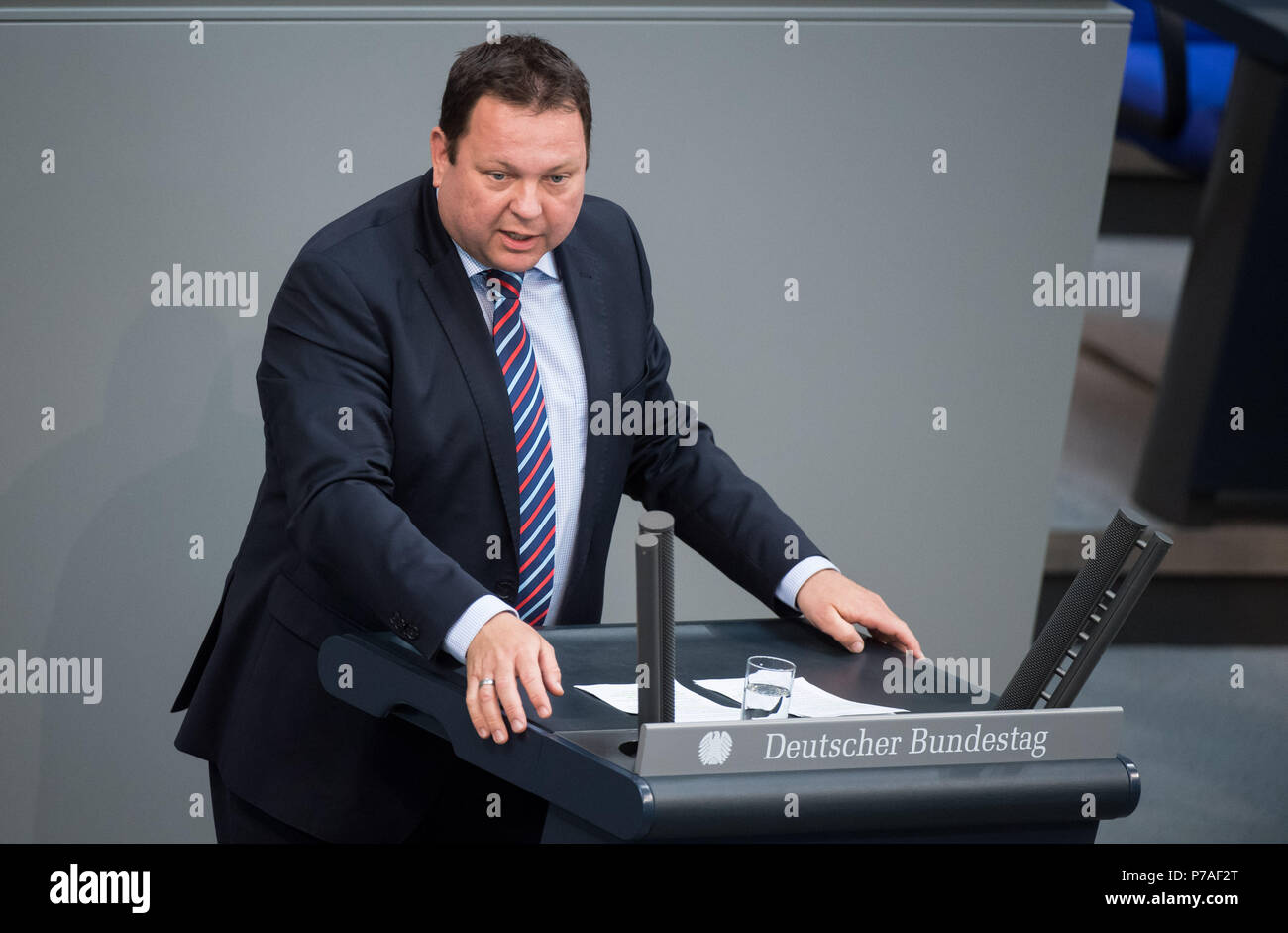 Germany, Berlin. 5th July, 2018. Martin Gerster (Social Democratic Party - SPD) speaks during the plenary session of the German parliament. The highlight of the 46th session of the 19th legislative period is the adoption of the federal budget. The Parliament has deliberated on several individual budgets in its last meeting before the summer break. Credit: Bernd von Jutrczenka/dpa/Alamy Live News - Stock Image