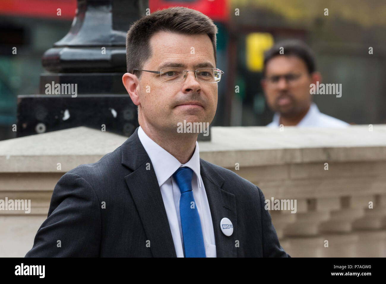 London, UK. 5th July, 2018. James Brokenshire, Secretary of State for Housing, Communities and Local Government, arrives for a meeting of the Government's Cobra emergency committee to discuss the UK's response to the latest Novichok nerve agent poisonings in Wiltshire. Credit: Mark Kerrison/Alamy Live News - Stock Image
