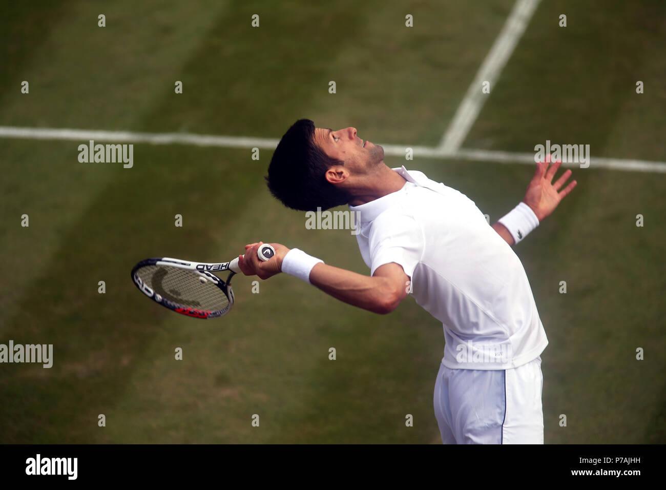 London, England - July 5, 2018.  Wimbledon Tennis:  Novak Djokovic of Serbia serving during his second round victory over Horacio Zeballos of Argentina today at Wimbledon Credit: Adam Stoltman/Alamy Live News - Stock Image