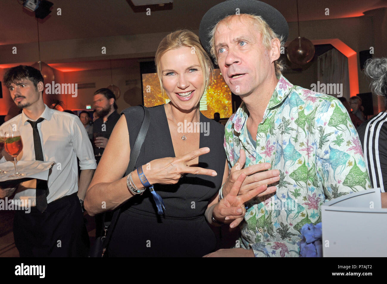 Munich, Germany. 02nd July, 2018. Actress Veronica Ferrs and director Thomas Stiller at the reception on the occasion of Filmfest Munich at Cafe Reitschule. Credit: Ursula Düren/dpa/Alamy Live News - Stock Image