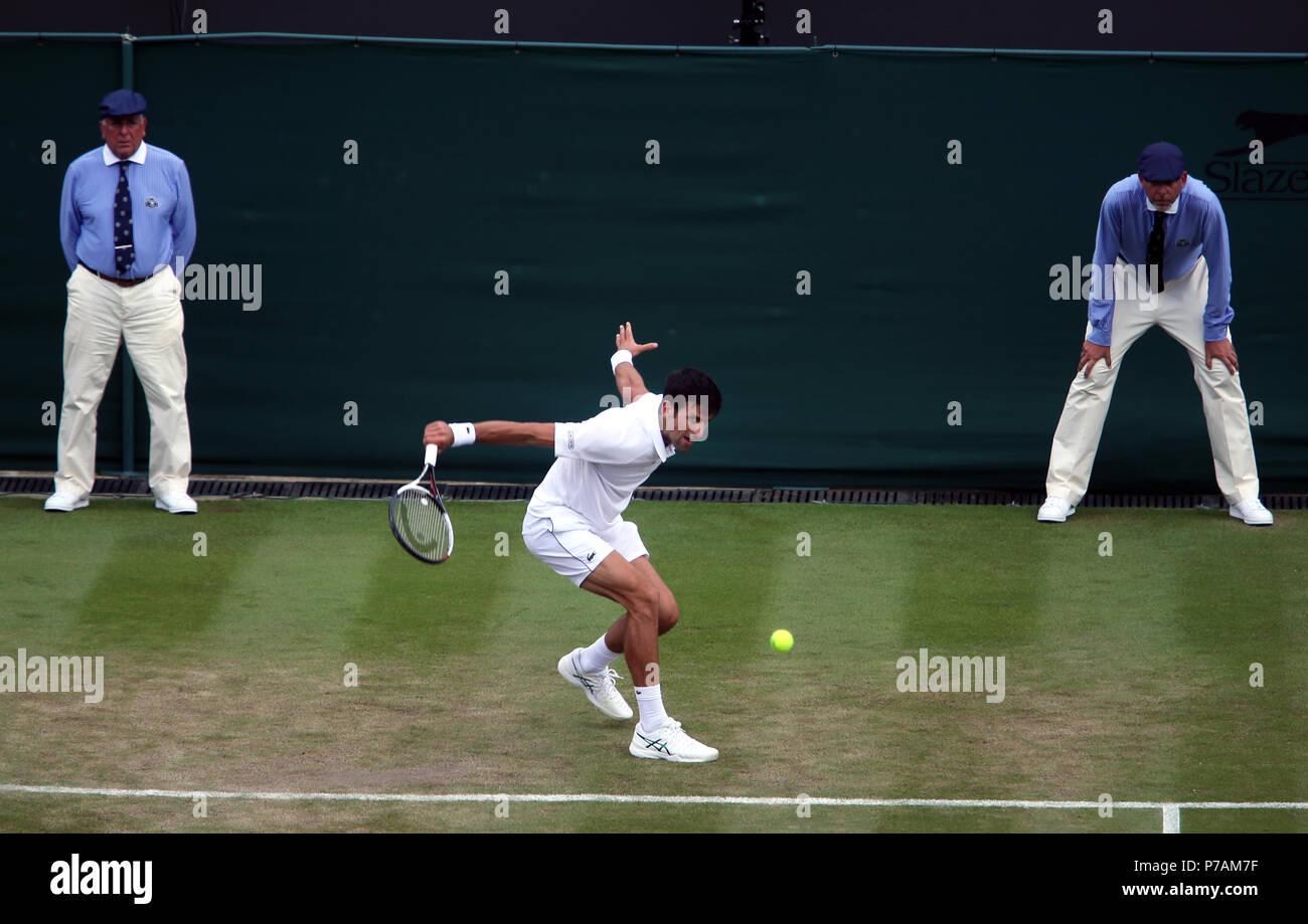 London, England - July 5, 2018.  Wimbledon Tennis:  Novak Djokovic of Serbia during his second round victory over Horacio Zeballos of Argentina today at Wimbledon Credit: Adam Stoltman/Alamy Live News - Stock Image