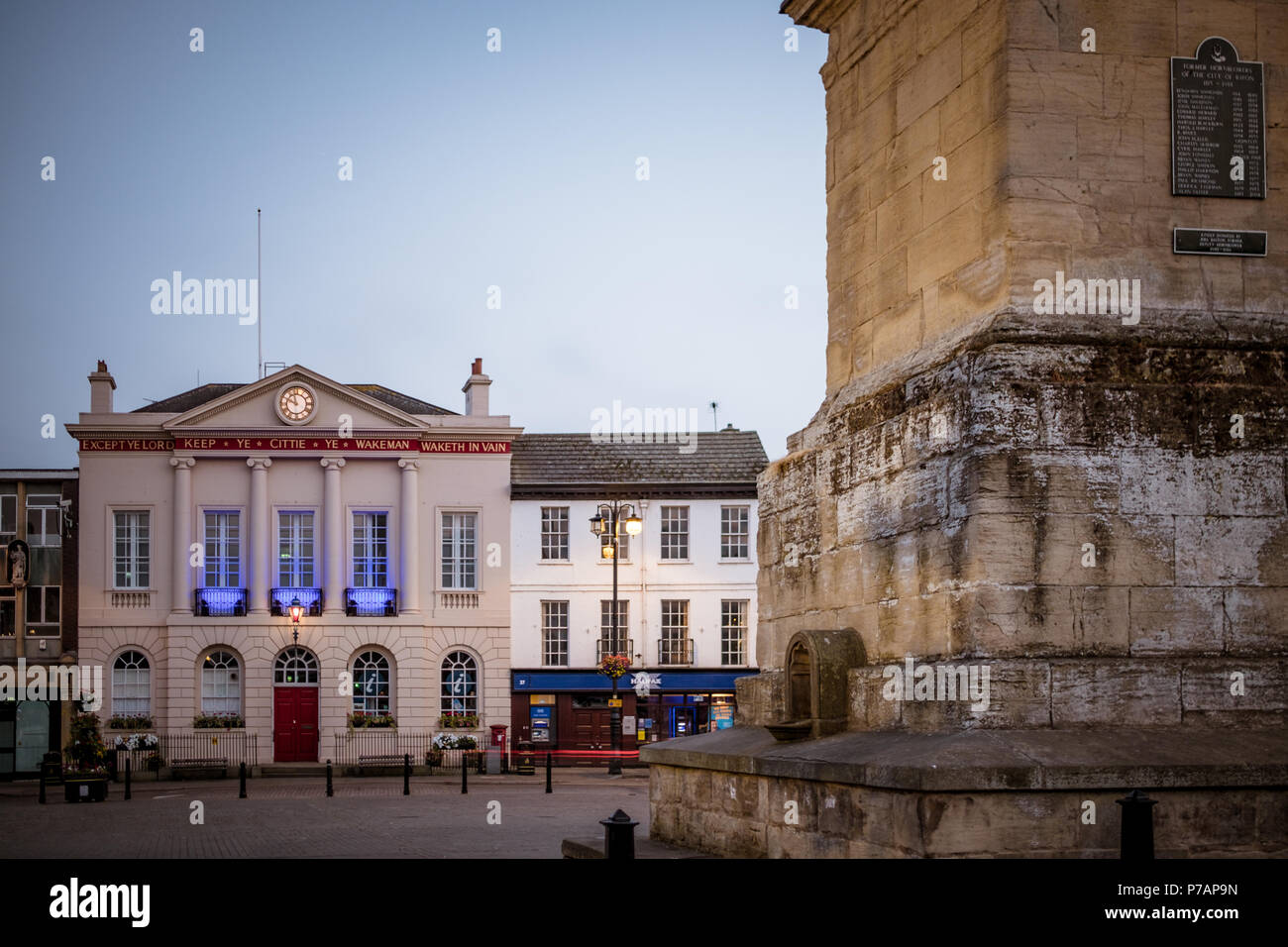 Ripon City Hall, Ripon, North Yorkshire, UK - 5 July 2018: The Council Offices in Ripon, North Yorkshire, UK, lit up in blue to celebrate the 70th birthday of the NHS. Caught Light Photography/Alamy Live News - Stock Image