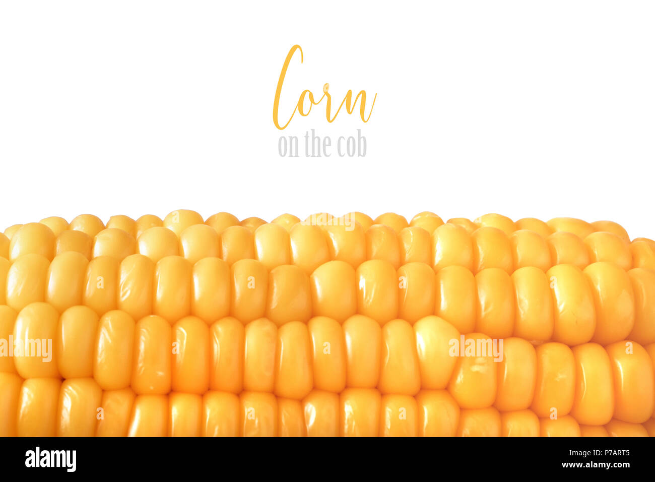 Close-up on oiled corn on the cob isolated on white background, text space - Stock Image