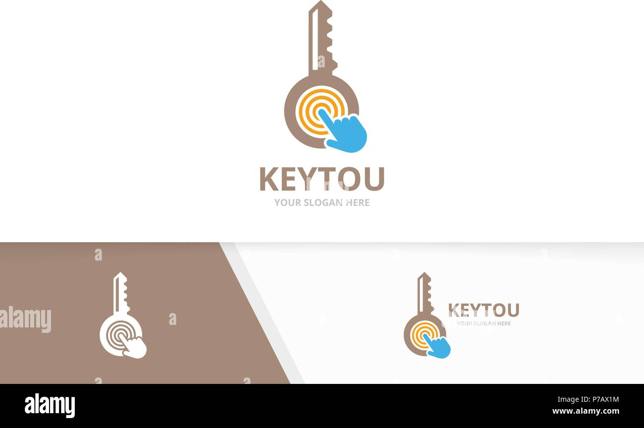 Vector key and click logo combination. Lock and cursor symbol or icon. Unique house and digital logotype design template. - Stock Image