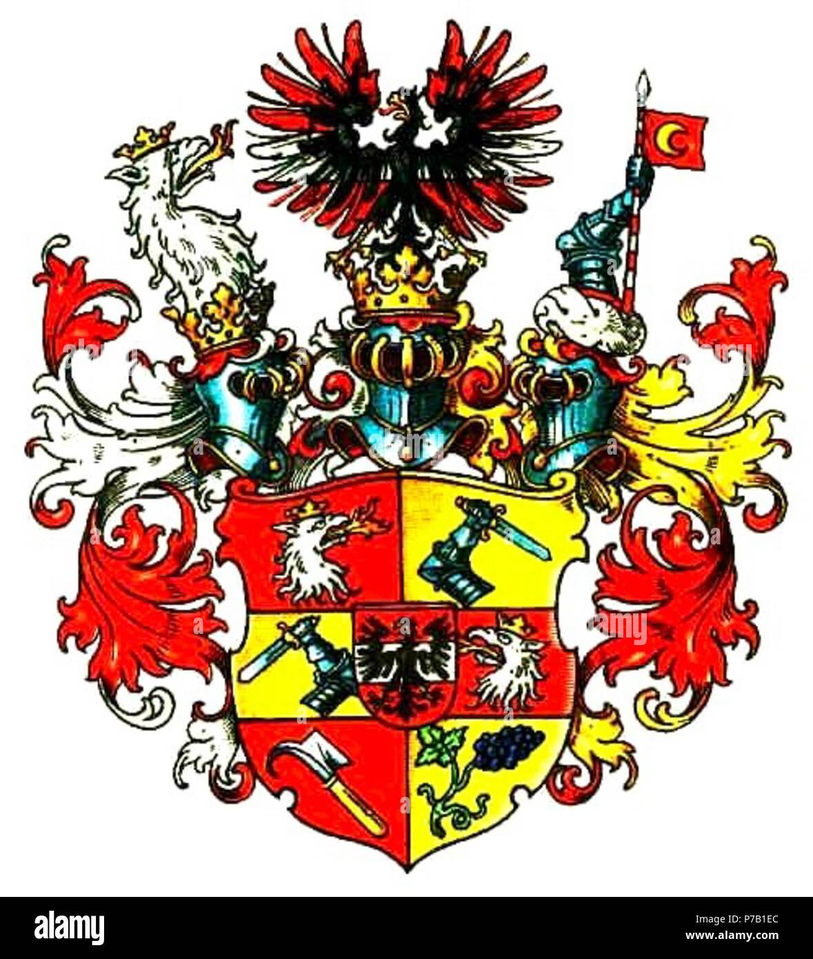 Wappen Graf Oppersdorff, Freiherr von Aich und Friedstein, Herr zu Oberglogau, gespalten und 2x geteilt (6 Felder) und mit rotem Herzschild, darin silberner Balken, das Ganze belegt mit schwarzem Adler, 1 und 4 in Rot feuerspeiender Kopf eines einwärts gekehrten silbenen Greifen (StW), 2 und 3 in Gold ein geharnischter Schwertarm, 5 in Rot ein schräg gestelltes goldenbegrifftes Rebmesser, 6 in Gold eine schräglinks liegende Rebe blauer Weintrauben (Stadt Oberglogau). 3 Helme: rechts mit r.-s. Decken der Greifenkopf samt Hals, auf dem mittleren mit rechts r.-s., links r.-g. Decken der Adler vor - Stock Image