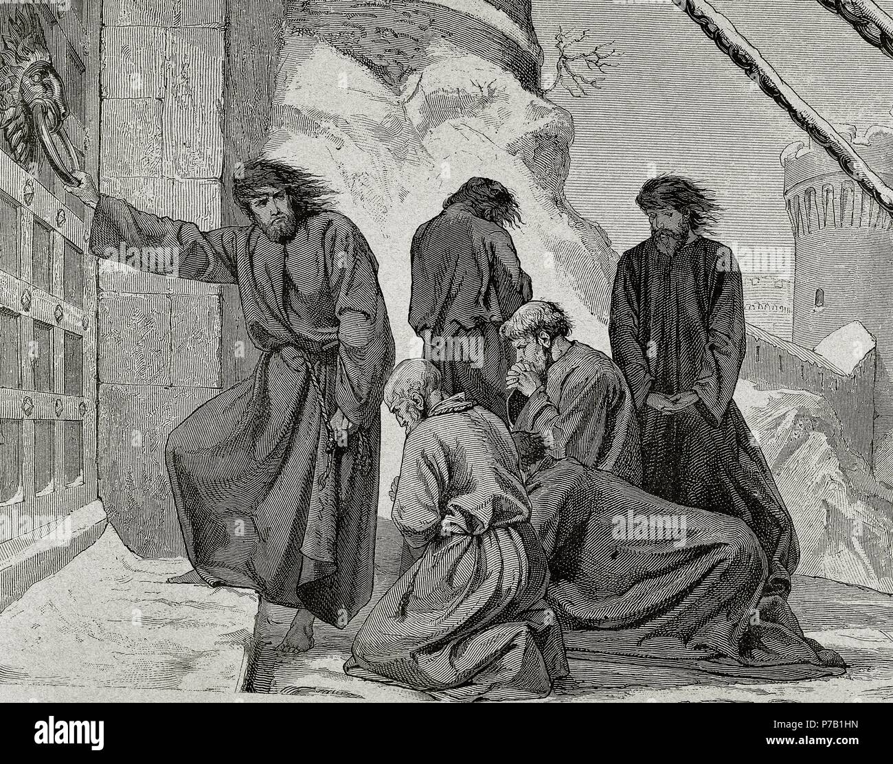 Henry IV (1050-1106). Holy Roman emperor. Henry IV at the entrance of the castle of Canossa (1077) to obtain the revocation of his excommunication of the Pope Gregory VII. Engraving. - Stock Image