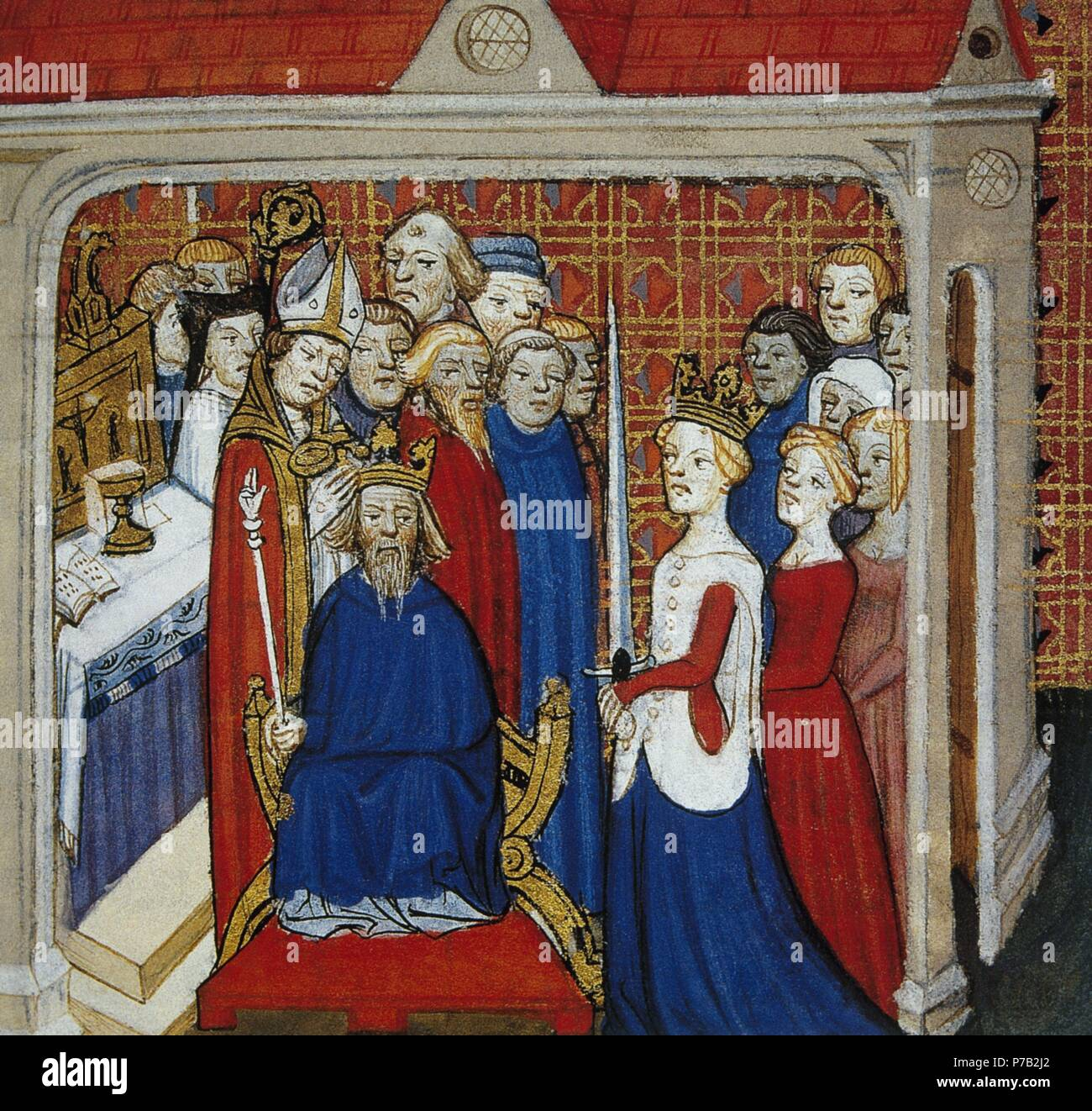 Louis the Stammerer (846-879). King of Western France. Miniature depicting the coronation of Louis II. 14th century. Conde Museum. Chantilly Castle. France. - Stock Image
