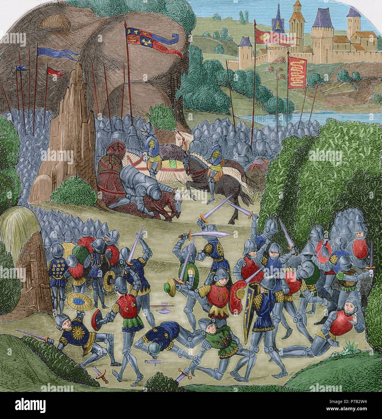 August 5, 1388. Fight on the border between the Scottish and English  armies. Les Chroniques of Jean Froissart. Engraving of an edition of 1881.  Colored.