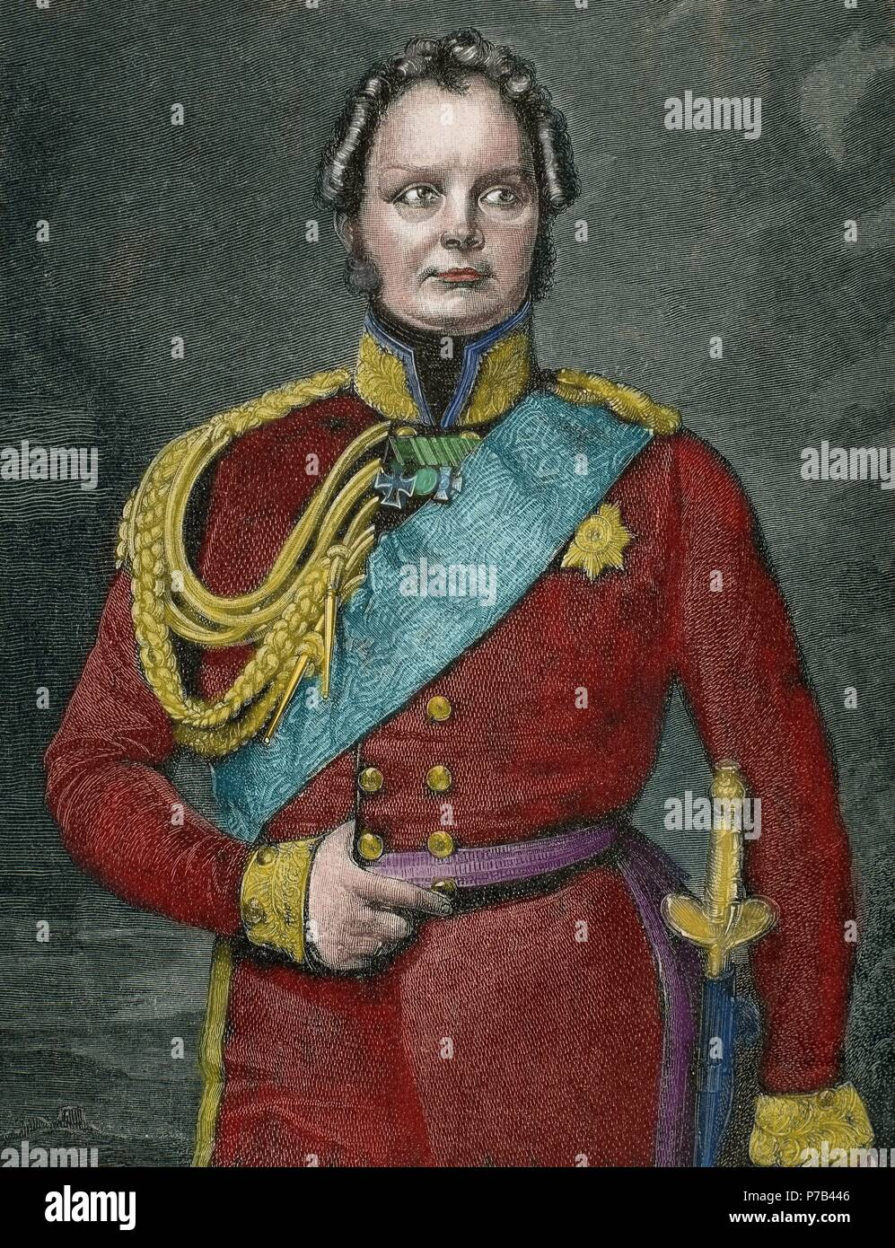 Frederick William IV of Prussia (1795-1861). King of Prusia 1840-1861. Portrait. Engraving by Niedermann. 19th century. Colored. - Stock Image