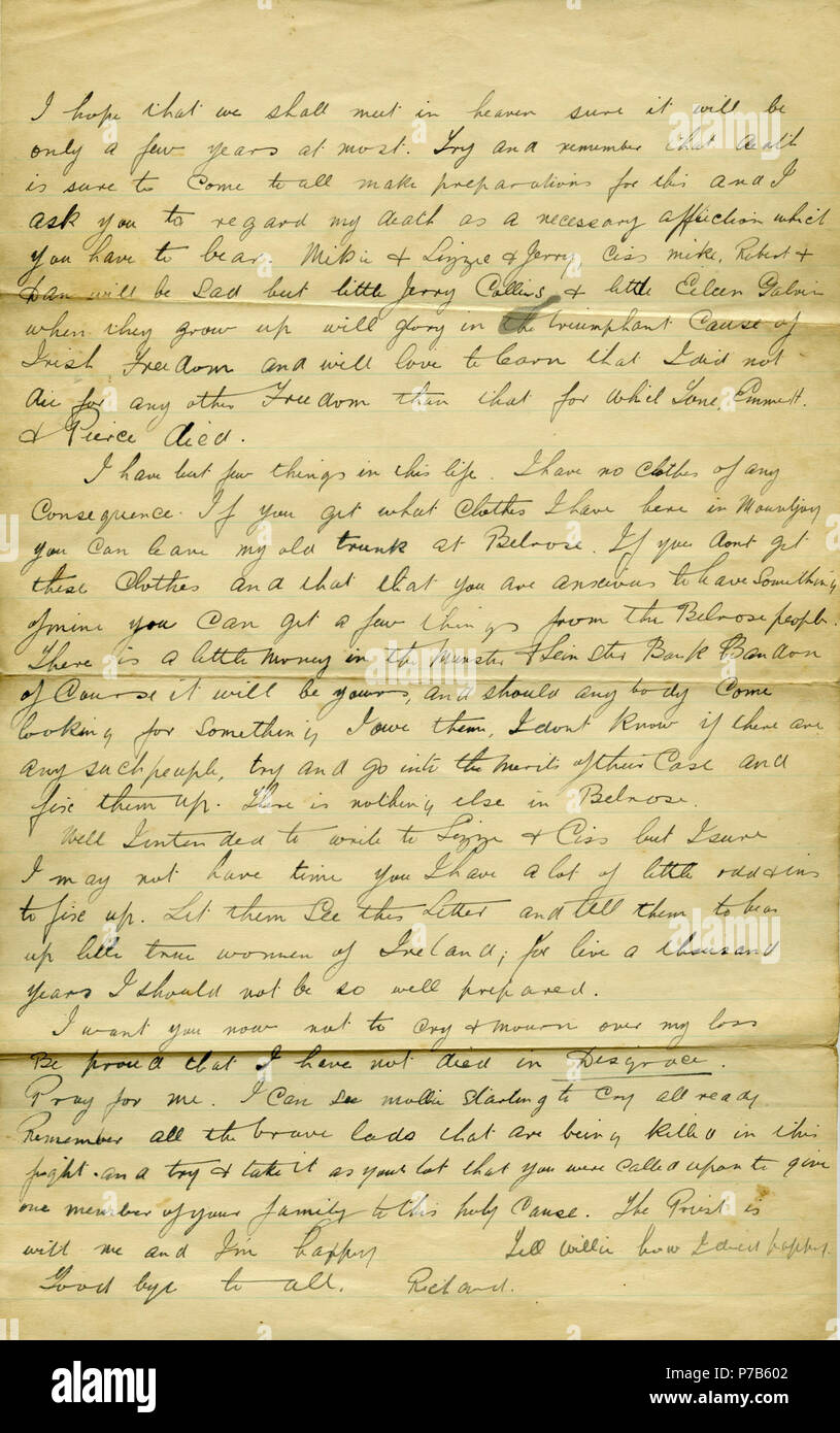 english page 2 of letter written at 2am 8th december 1922 by richard barrett in mountjoy prison dublin to his family after he was just informed he was