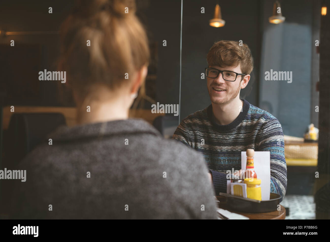 Couple in the cafe - Stock Image