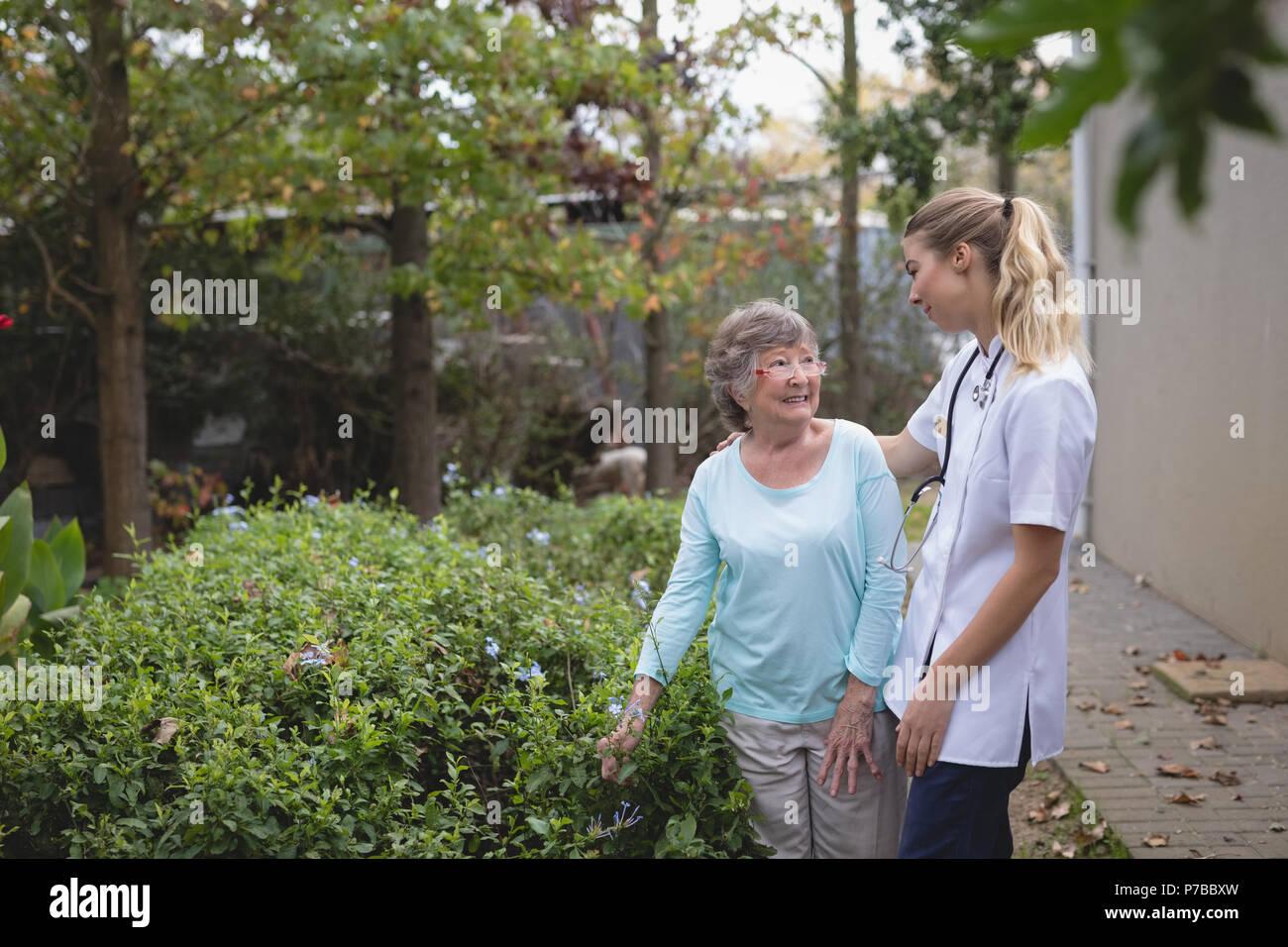 Physiotherapist and senior woman talking at the backyard - Stock Image