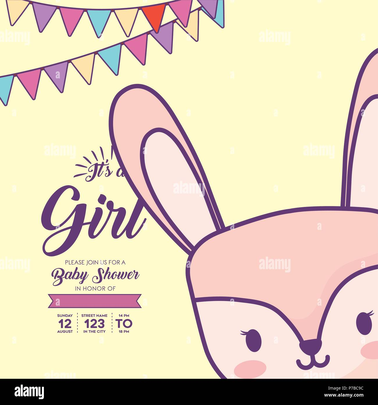 6c64920c38e Ist a girl baby shower invitation with decorative pennants and cute rabbit  icon over yellow background
