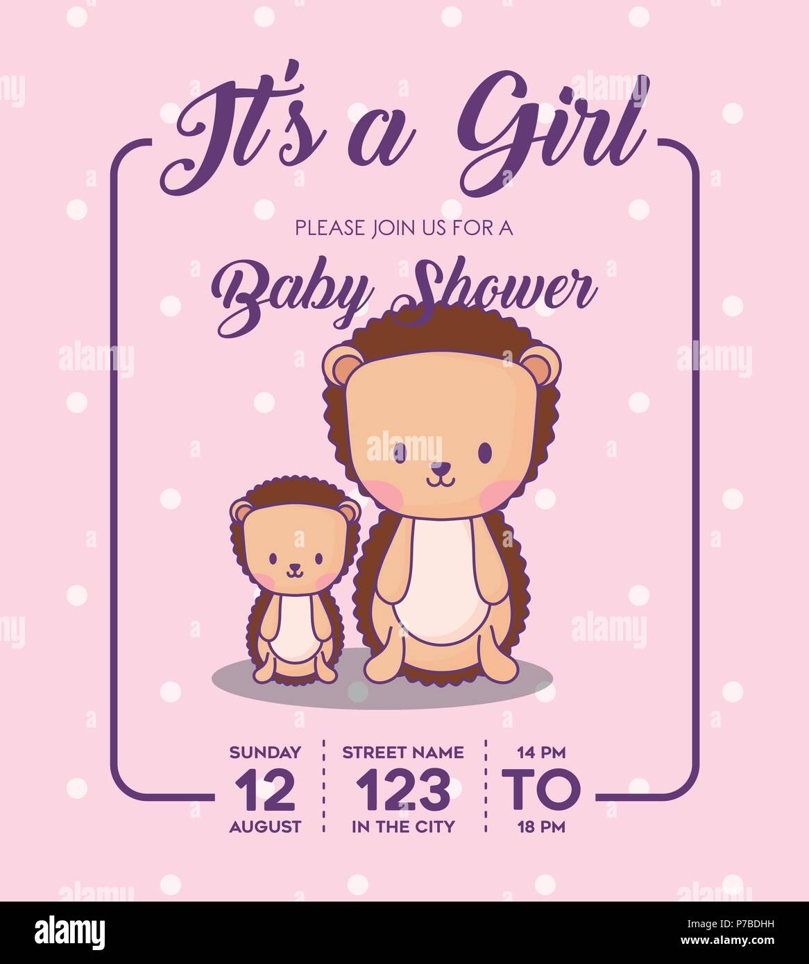 efc8959ad1b Its a girl Baby shower Invitation with porcupines icon over purple  background
