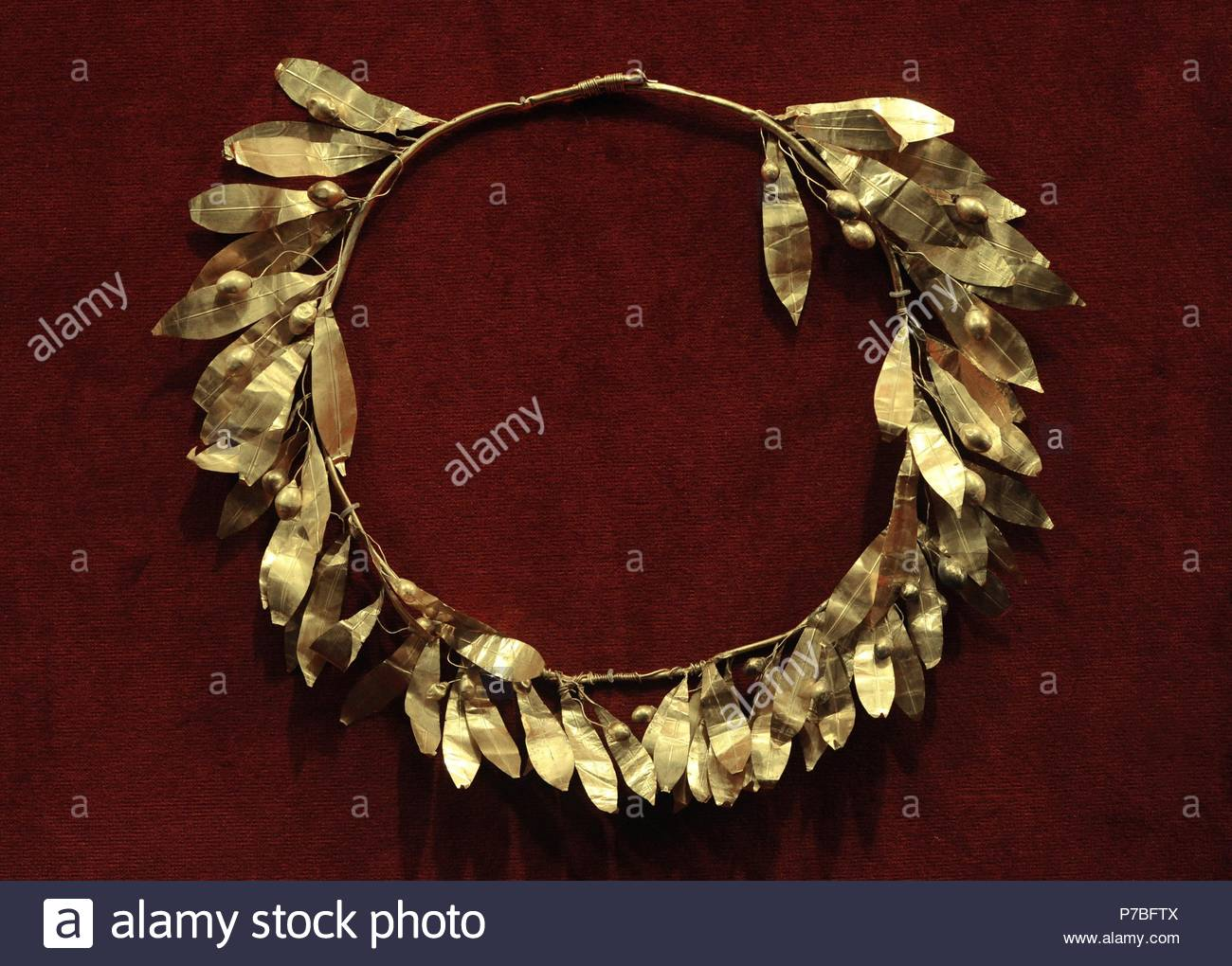 Gold crown of olive leaves. Greece. 300 BC. Museum of Mediterranean and Near Eastern Antiquities. Stockholm. Sweden. - Stock Image