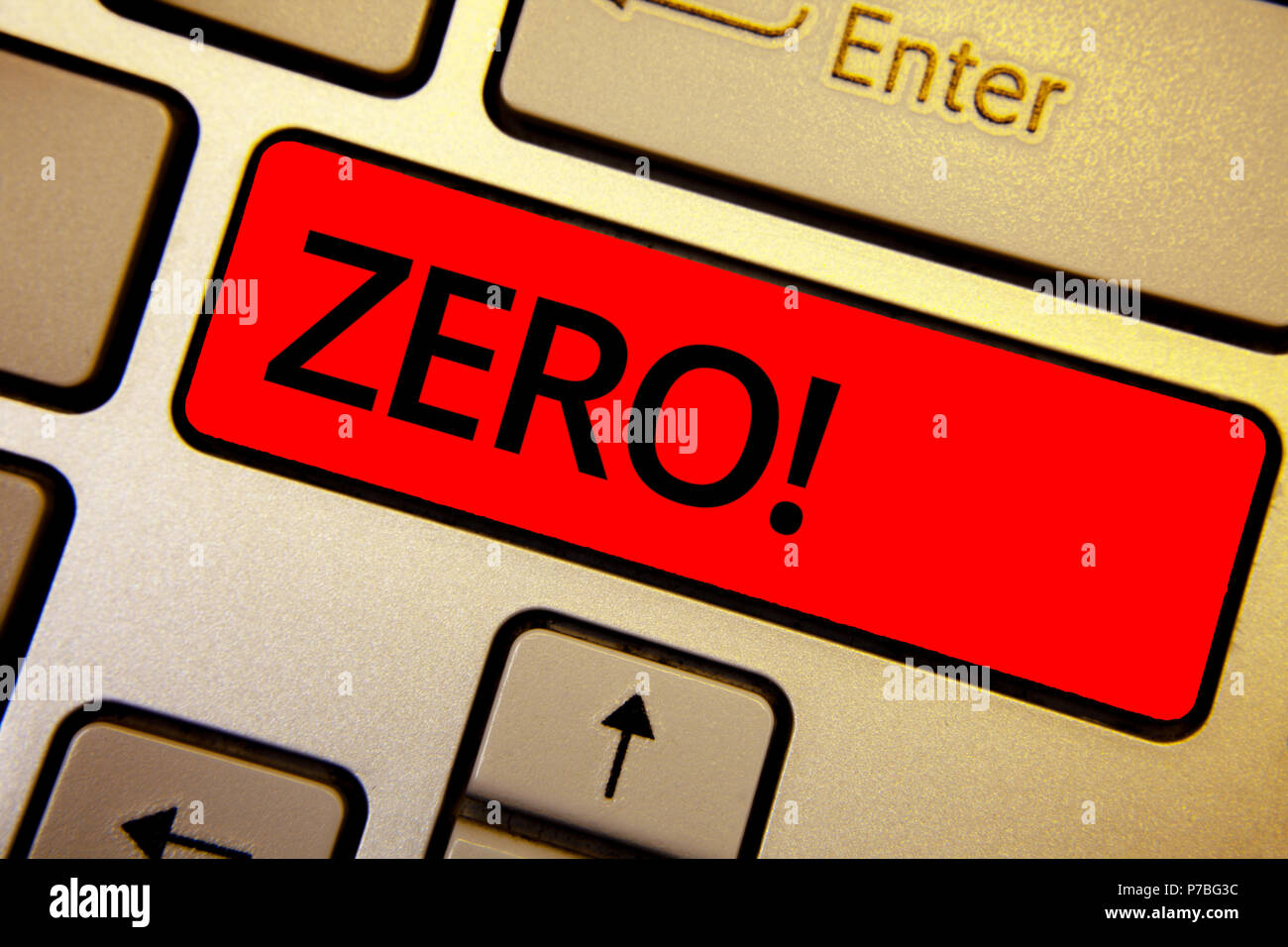 Text sign showing Zero Motivational Call. Conceptual photo The emptiness nothingness of something no value Keyboard brown keys yellow laptop idea crea Stock Photo