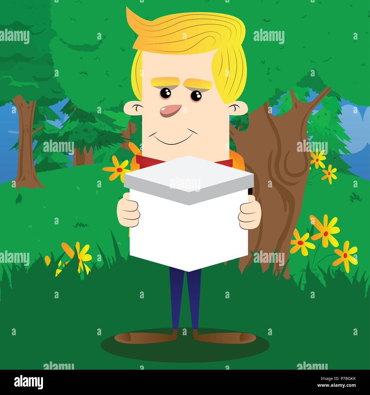 Schoolboy holding white box. Vector cartoon character illustration. - Stock Image