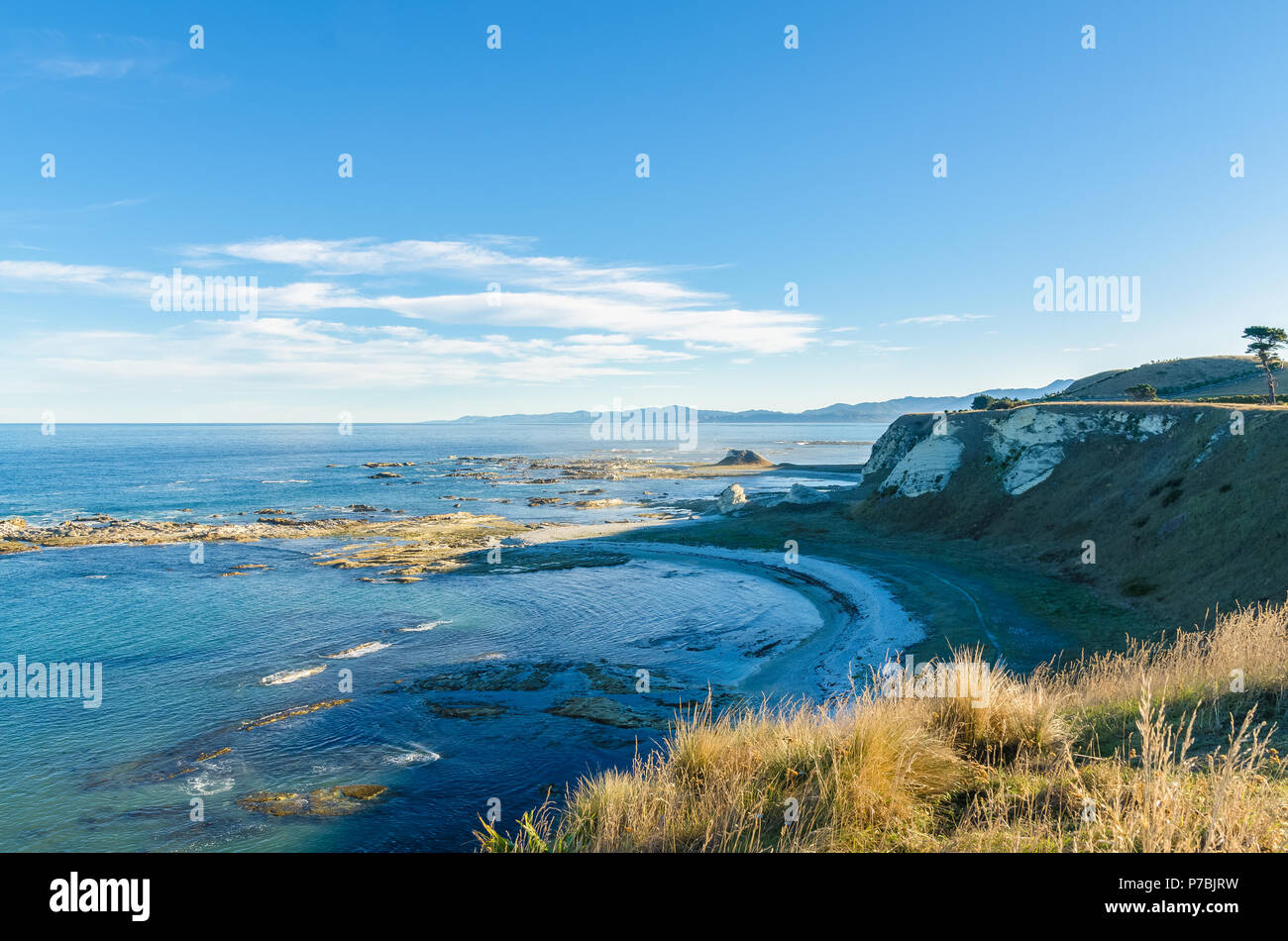 Beautiful landscape view from the Point Kean Viewpoint, Kaikoura New Zealand - Stock Image