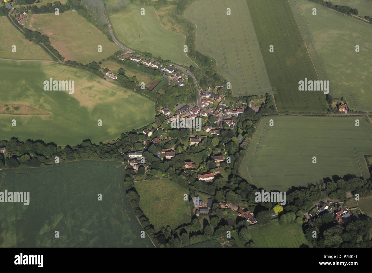 Aerial Photography - high-angle shot of farmland and fields over Britain.Summer 2018. - Stock Image