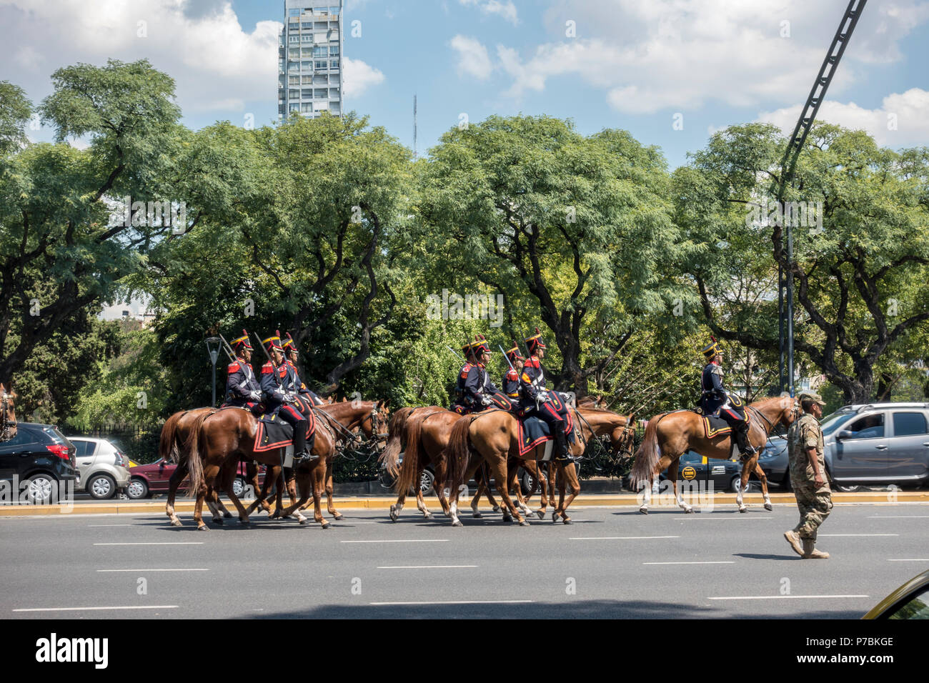 Horse Guards on Parade for the opening of the National Congress on March 1, Buenos Aires - Stock Image