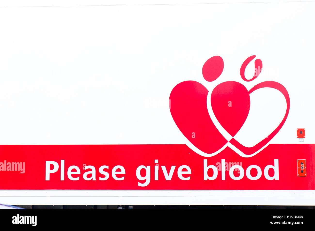 Bury St Edmunds, UK - May 15 2018:  A sign for a national blood donor appeal in the UK - Stock Image