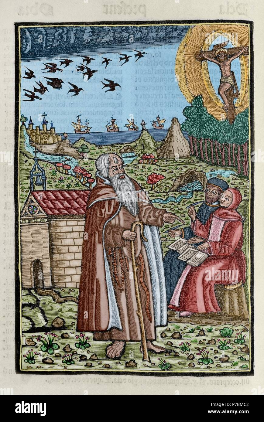 Ramon Llull (1235-1316). Spanish writer and philosopher. Blanquerna, ca. 1293. Engraving depicting Ramon Llull preaching or talking to two people or disciples. Colored. - Stock Image