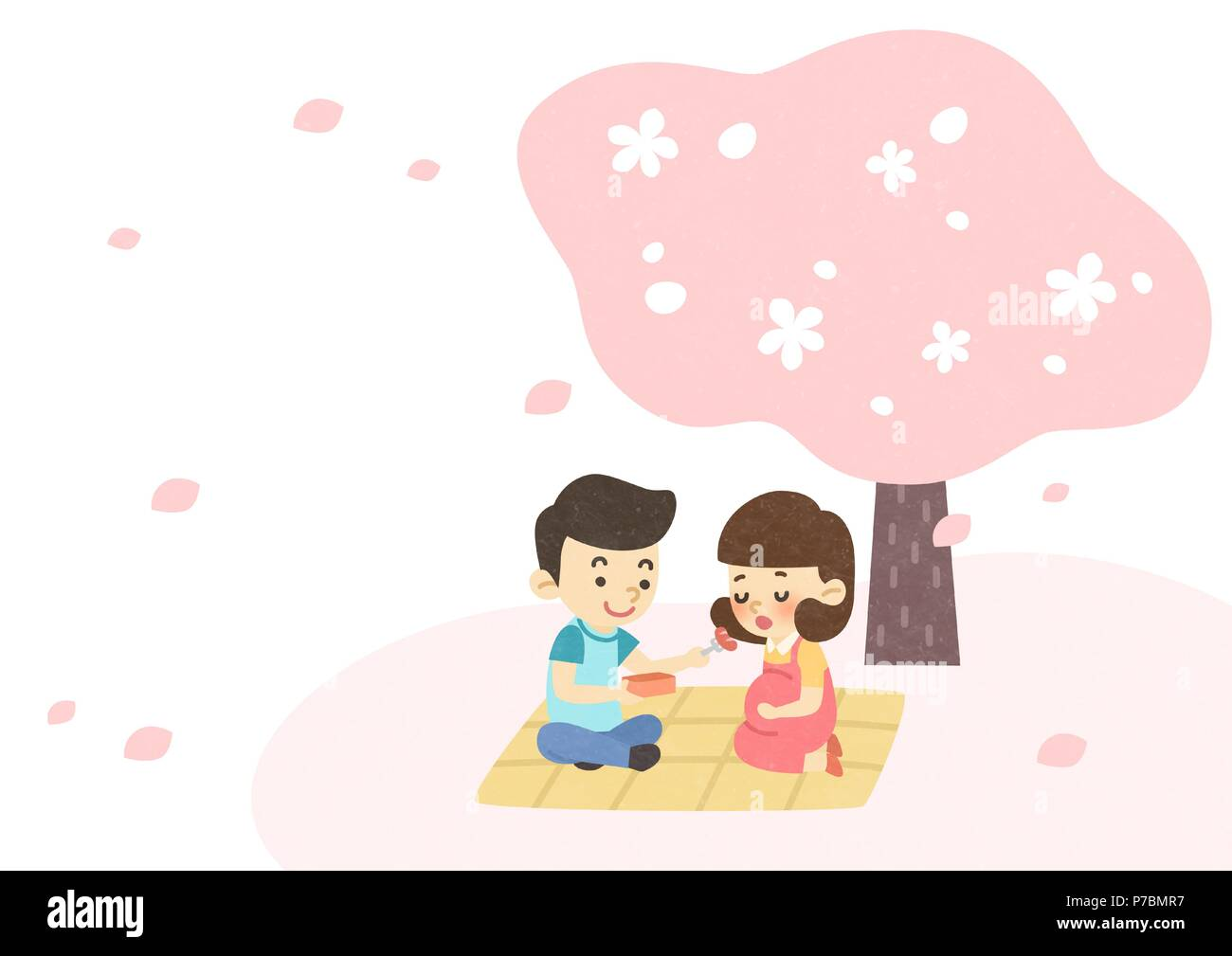 Vector - Enjoy spring season with happy family illustration 009 - Stock Vector