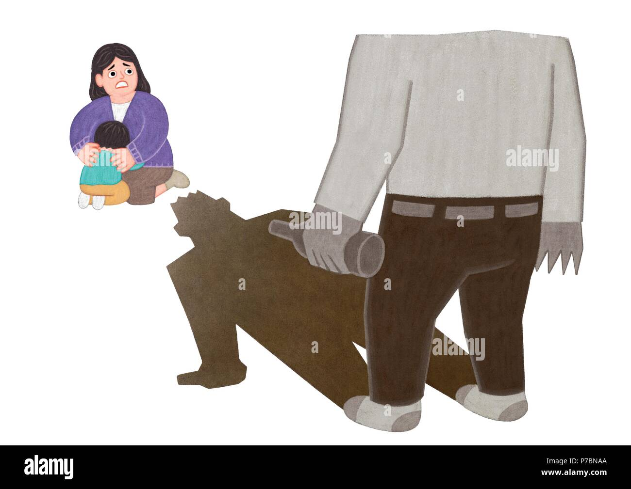 Vector -  all acts of violence illustration. different domestic violence situations on white background. 002 - Stock Image