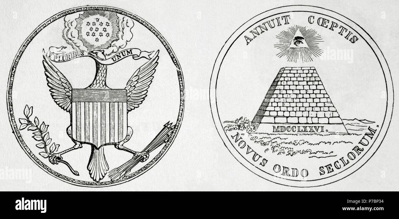 American Revolutionary War (1775-1783). The Great Seal of the United  States, used to authenticate documents issued by the U.S. federal  government. It was first used publicly in 1782. Engraving. 19th century  Stock