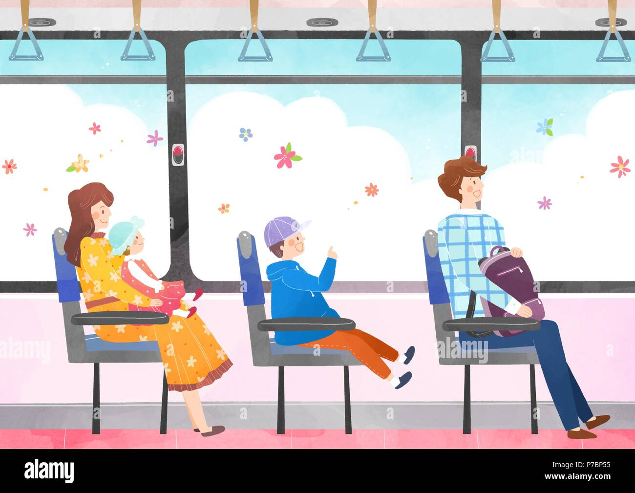 Vector - Go out to the beautiful spring season with family or lover illustration 002 - Stock Vector