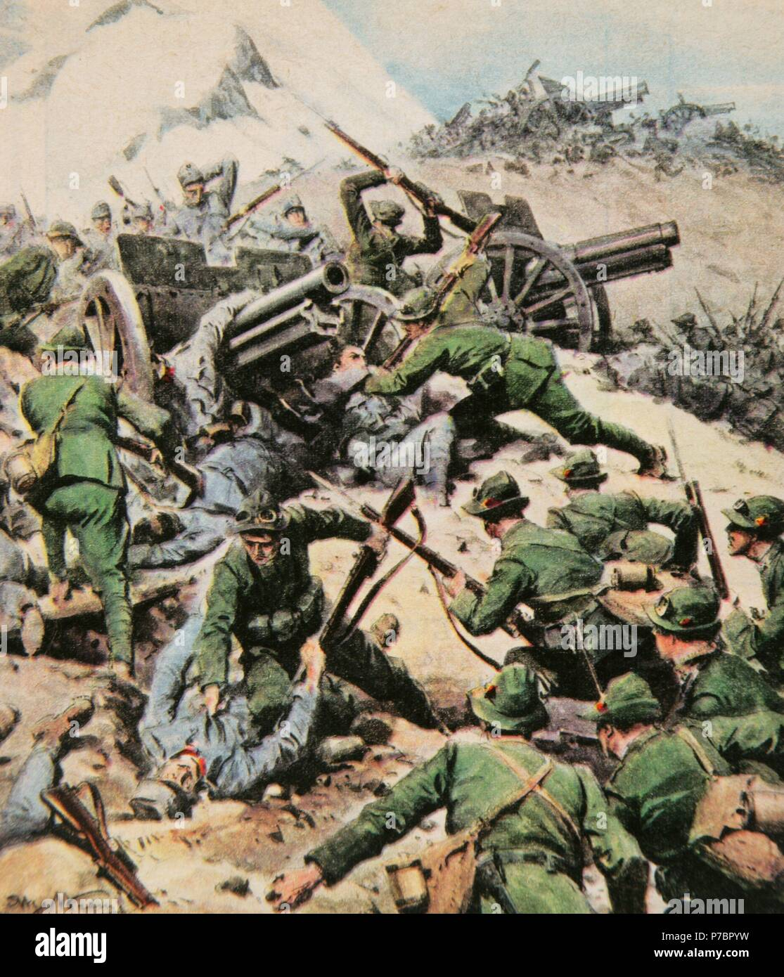 World War I (1914-1918). Italian front. Italian army with bayonet fighting Austro-Hungarian troops.Trentino, North Italy. Drawing by Achille Beltrame (1871-1945). La Domenica del Corriere, 1917. Color. Stock Photo