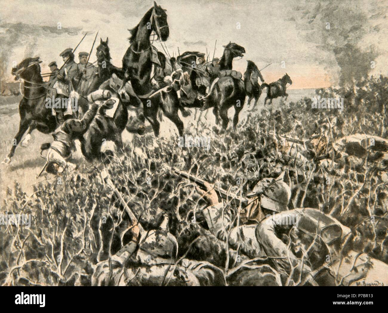 World War I (1914-1918). Three German soldiers (Central Powers) hiding to attack Russian cavalry scouts (Allies). Kutno, Poland. Engraving. La Esfera, 1915. - Stock Image