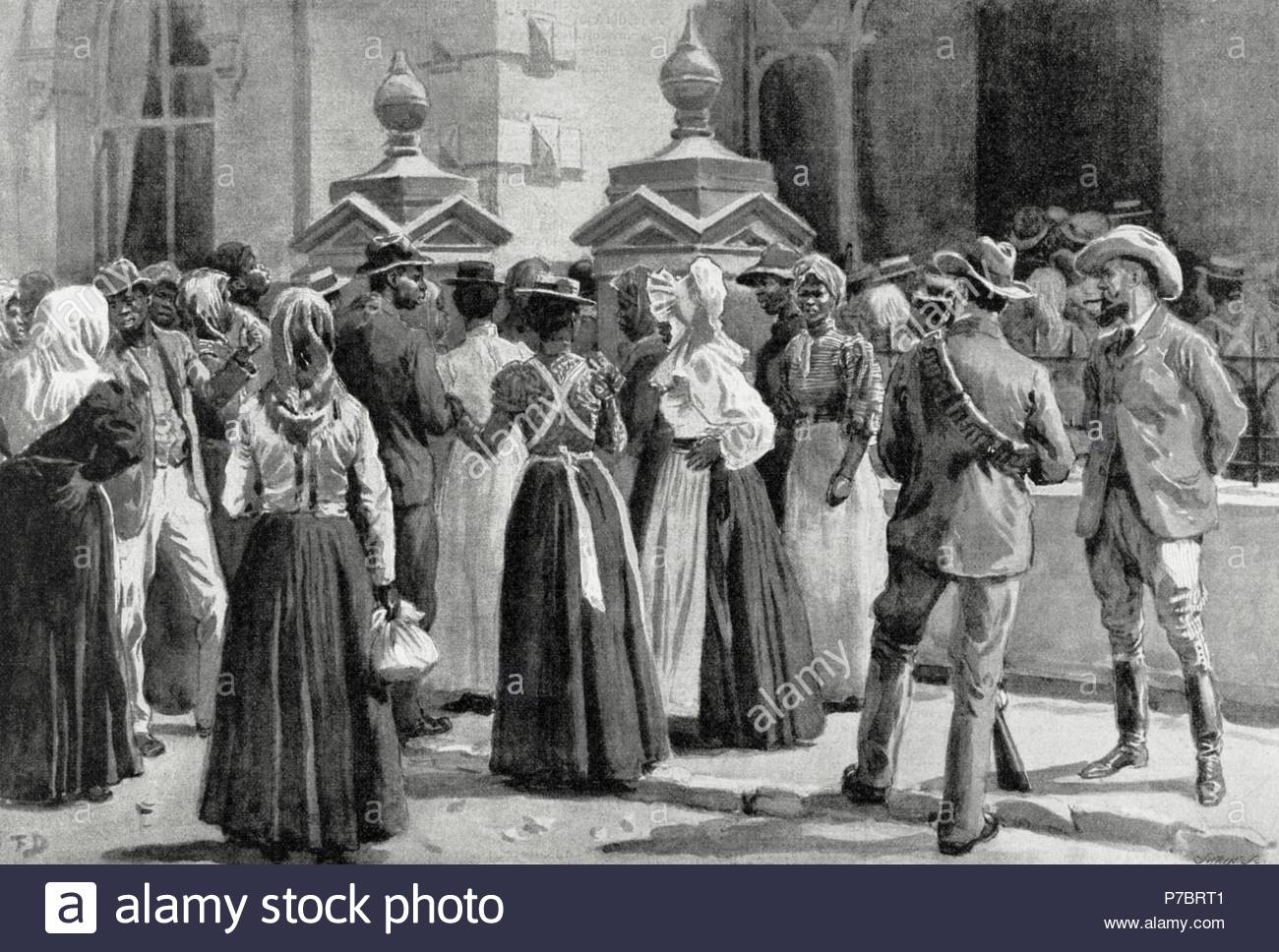 Second Anglo-Boer War (1899-1902) between the United Kingdom and Ireland and the South African Republic and the Orange Free State. Exodus of Johannesburg. Native  people leaving from the city. Engraving. 'La Ilustracion Artistica', 1900. - Stock Image