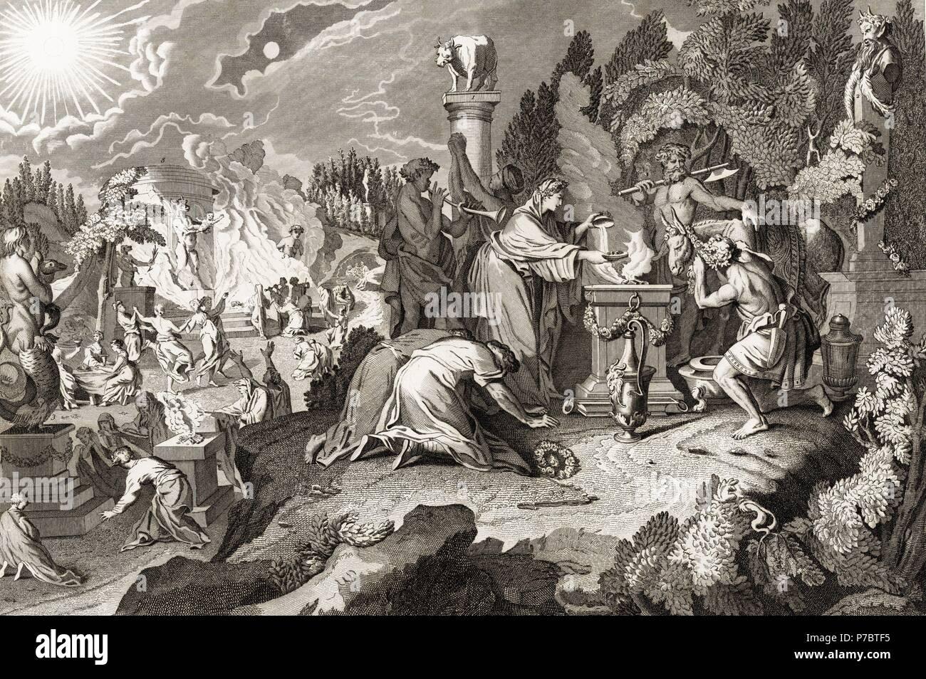 Historia sagrada. Altares consagrados al culto de diversos ídolos paganos. Grabado de 1862. Stock Photo