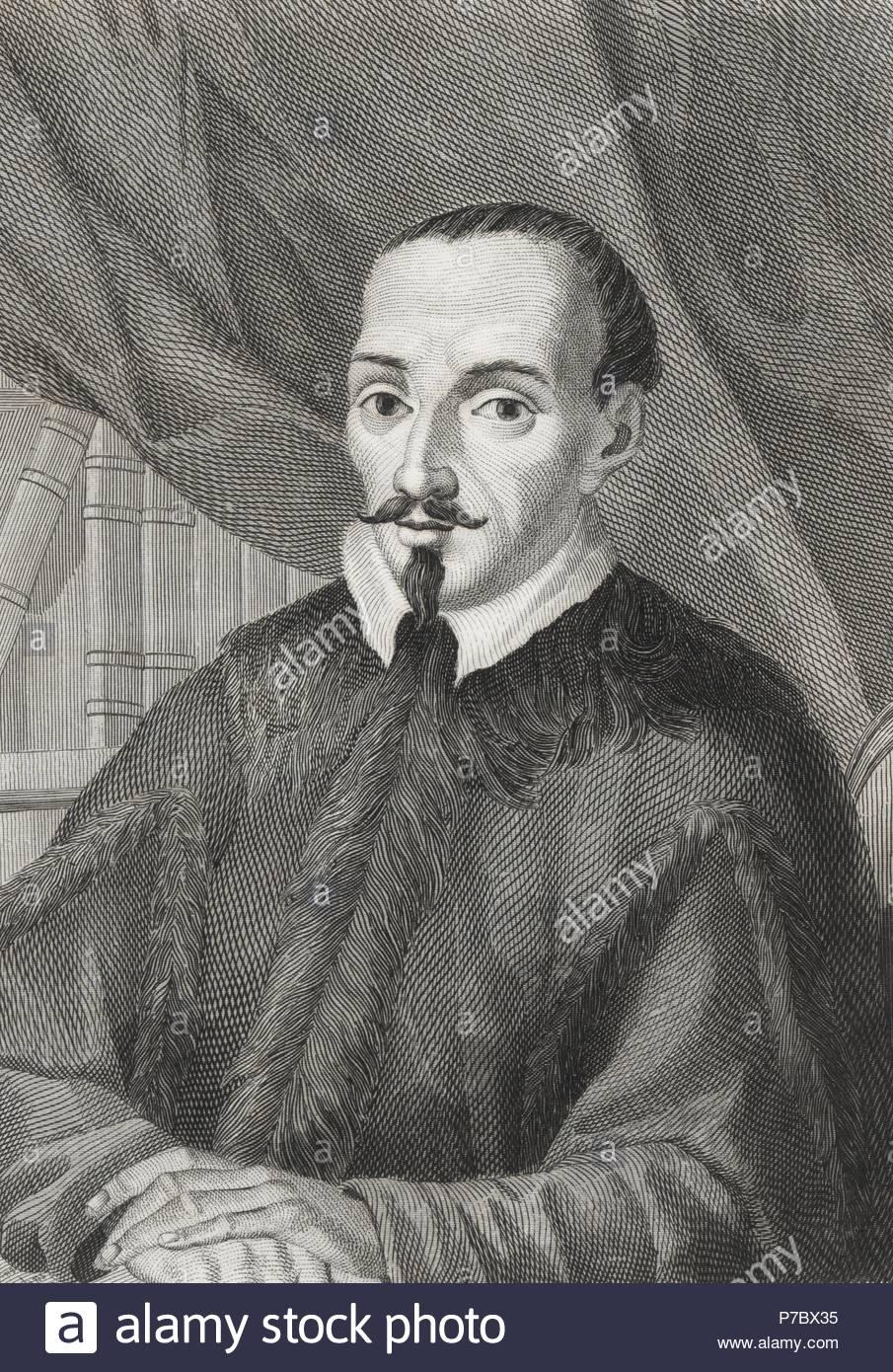 Jerónimo de Zurita y Castro (1512-1580), historiador y cronista aragonés. Grabado de 1853. - Stock Image