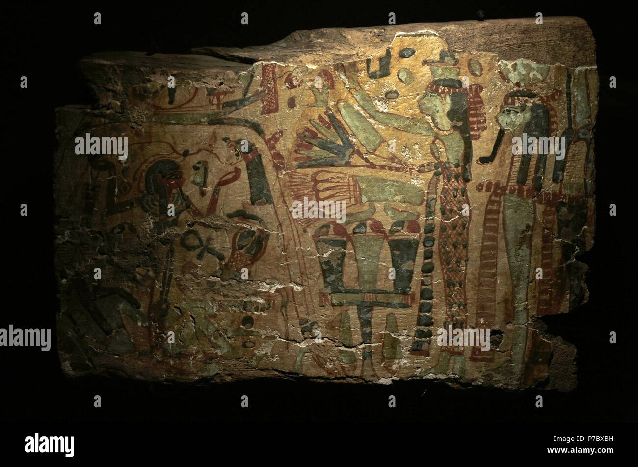 The creation by the Egyptians. Fragment of coffin painted in different colors. Type Deir el-Bahari. The sky Goddess Nut leans over the earth Geb. Between them, their father Shu keeps separated. The Sun God travels by boat above the back of Nut. 21st-22th Dynasties (1081-725 BC). Third Intermediate Period. Wood. Museum of Mediterranean and Near Eastern Antiquities. Stockholm. Sweden. - Stock Image