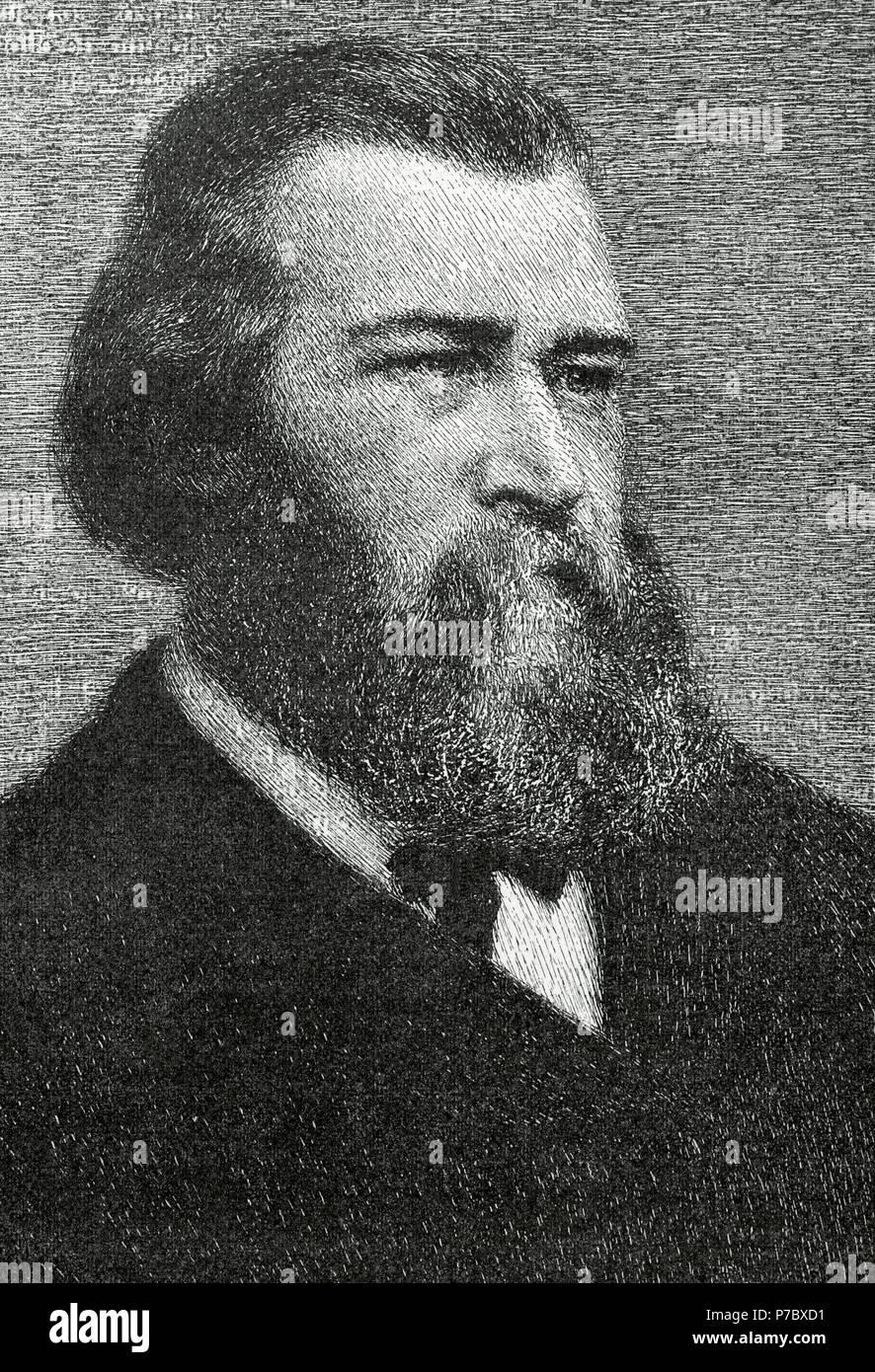 Jean-Franc_ois Millet (1814-1875). French painter. One of the founders of the Barbizon school. Portrait. Engraving. El Mundo Ilustrado, 1880. - Stock Image