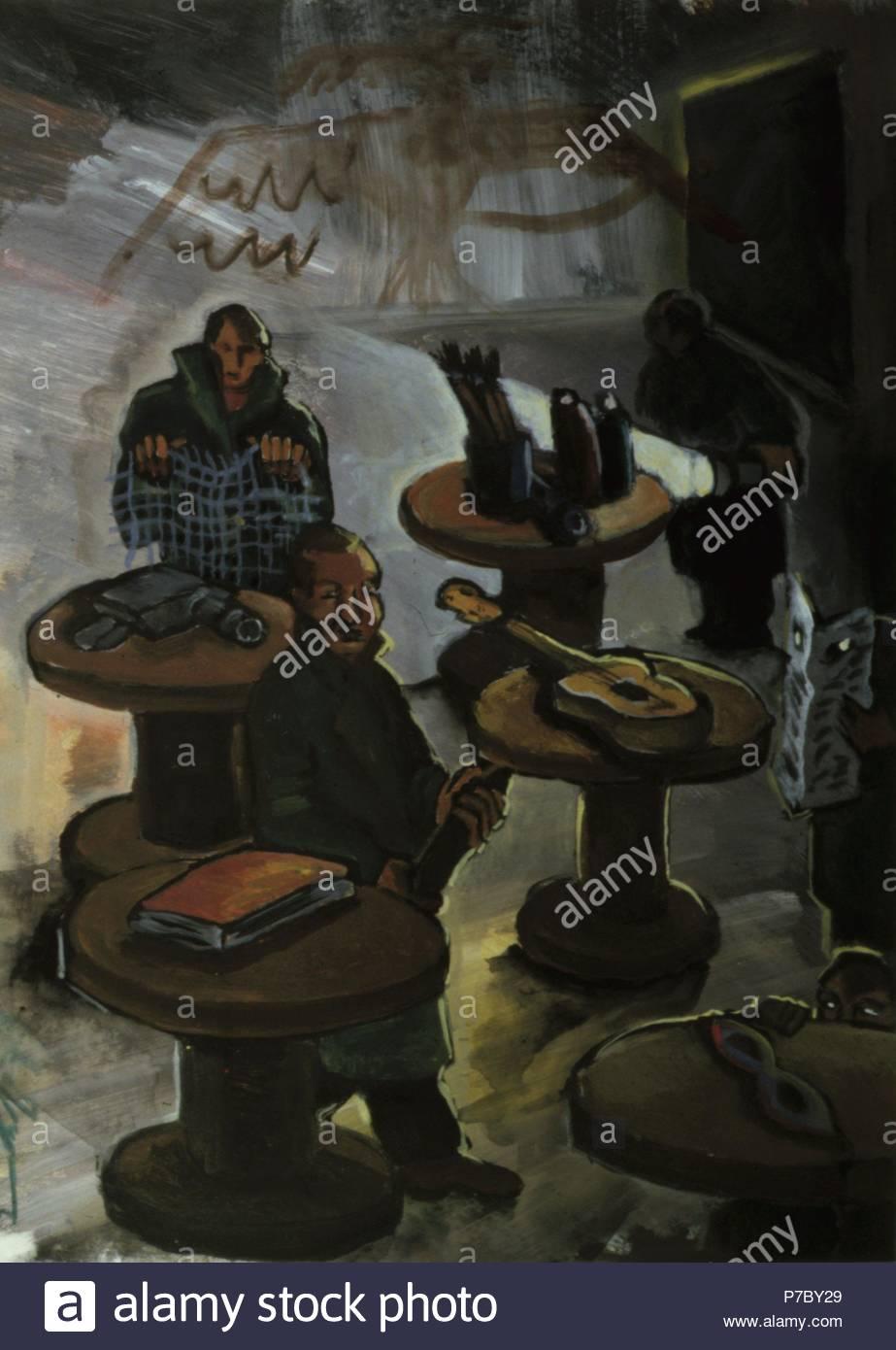 Hombres con mesas y diversos objetos. Museum: COLECION PARTICULAR / MADRID / ESPAÑA. - Stock Image