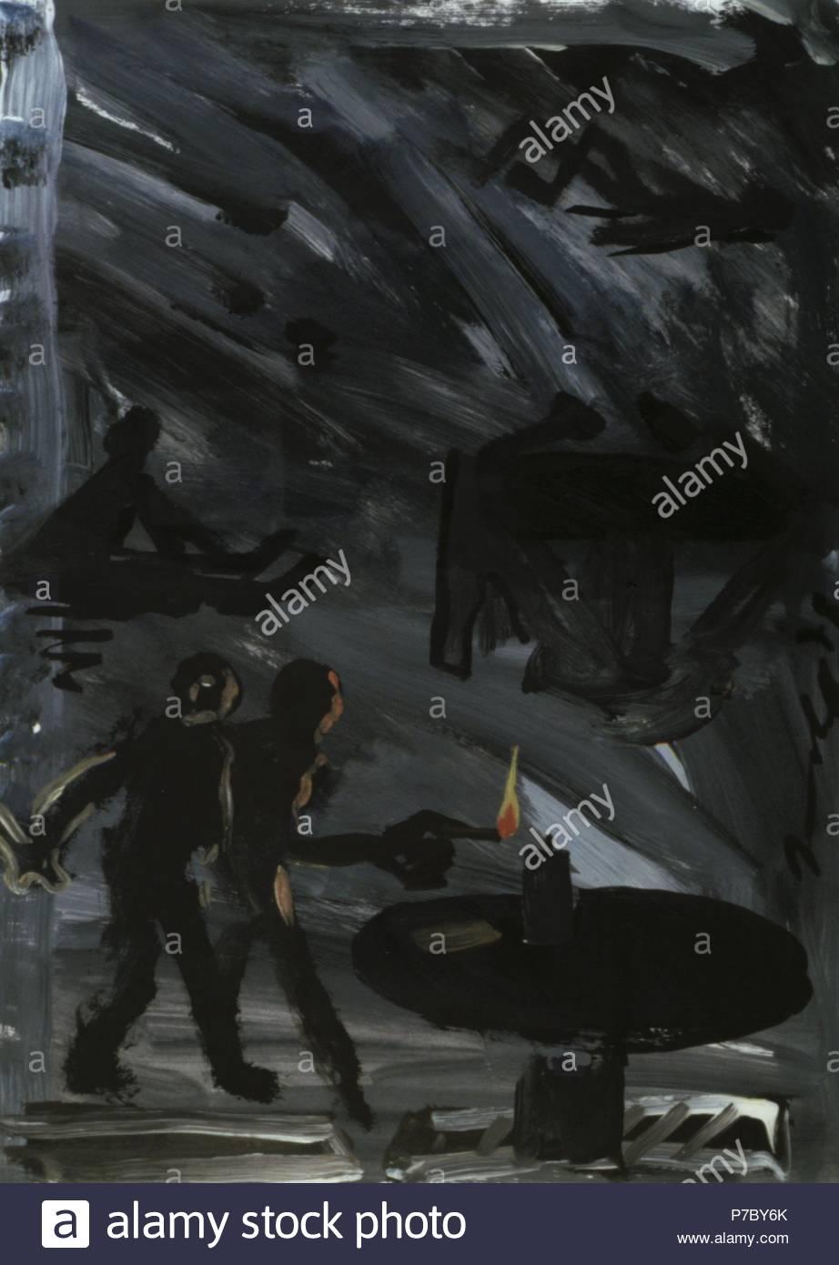 Dos hombres con una llama. Museum: COLECION PARTICULAR / MADRID / ESPAÑA. - Stock Image