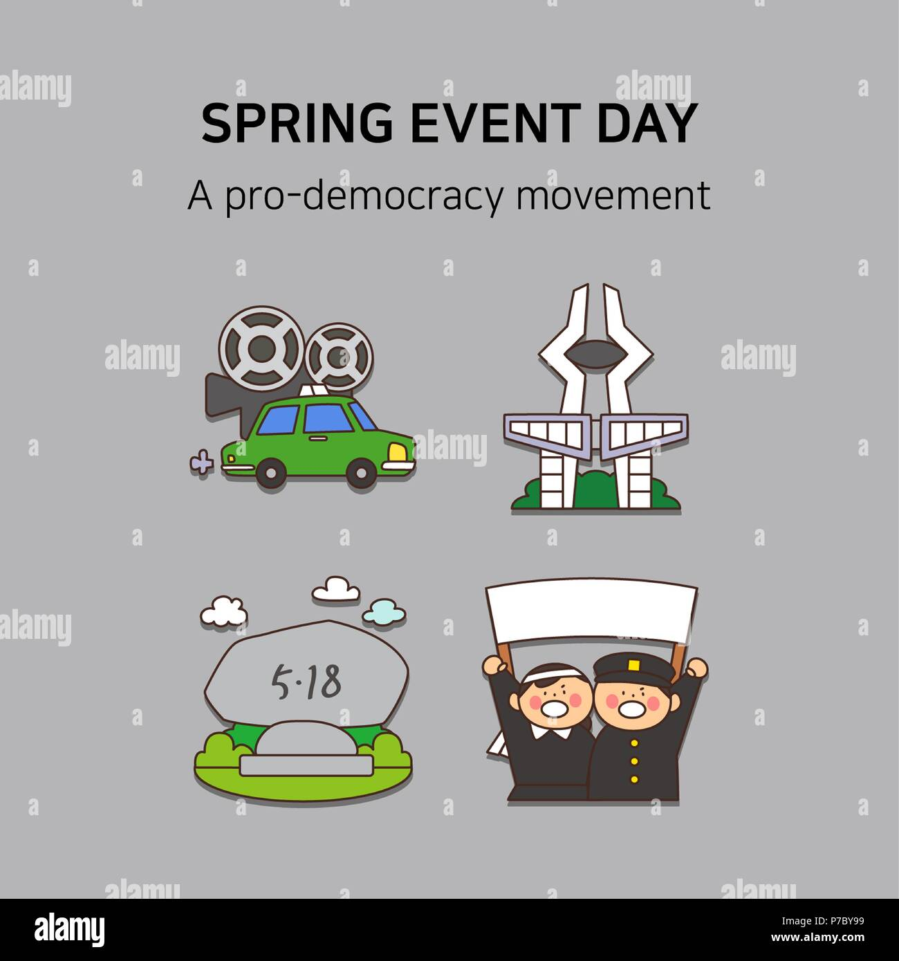 Vector - Spring event day icon set in colorful background 036 - Stock Vector