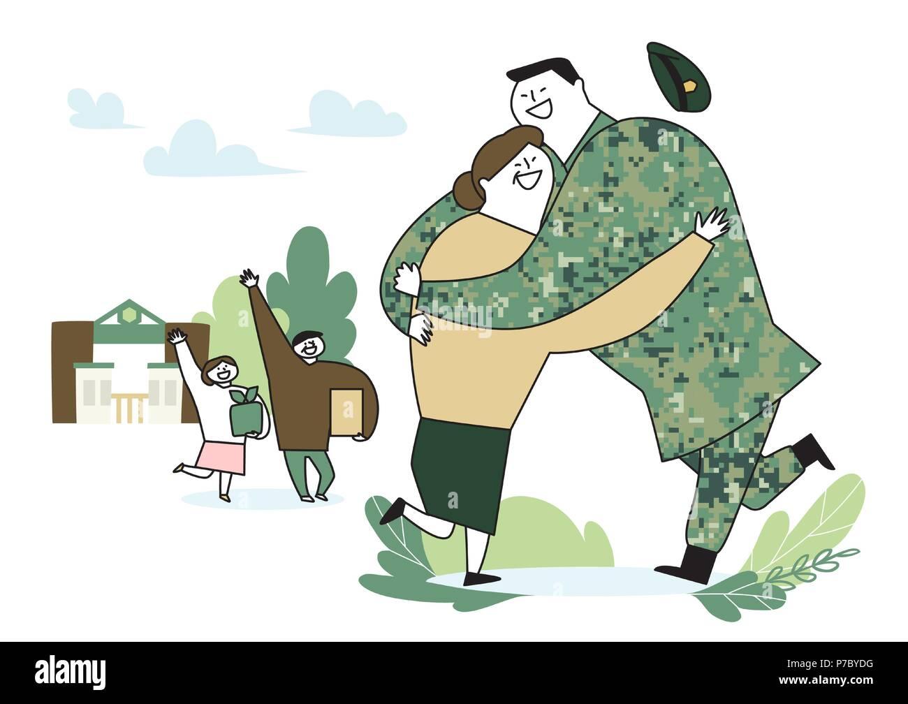 illustration of a cartoon military life 003 - Stock Vector