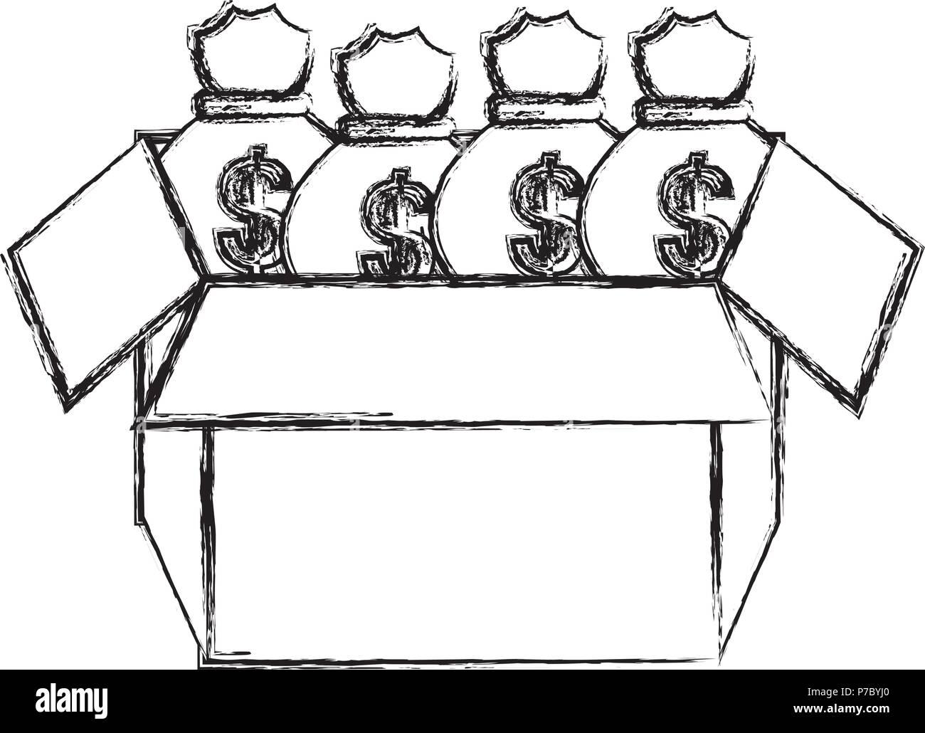 carton box with money bags vector illustration design - Stock Vector