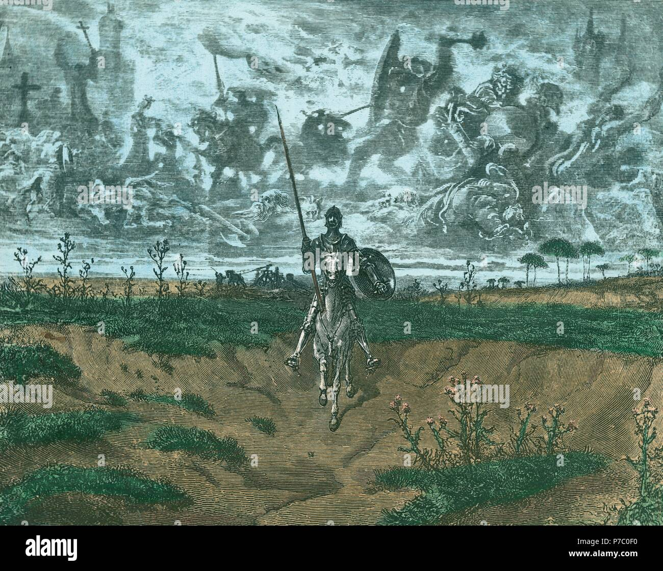 """Don Quijote: """"...caminando nuestro flamante aventurero, iba hablando.."""". Museum: COLECCION PARTICULAR MADRID ESPAÑA. Stock Photo"""