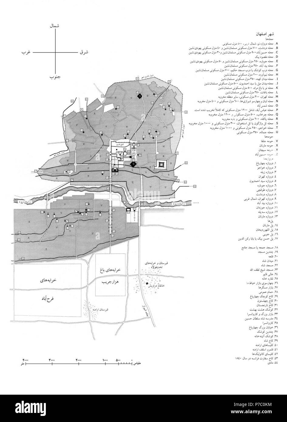 19th century map of isfahan Stock Photo: 211090984 - Alamy