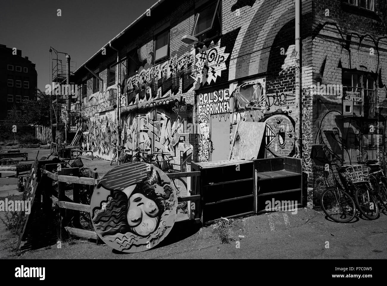 Urban Noerrebro in black and white, Copenhagen Denmark - Stock Image