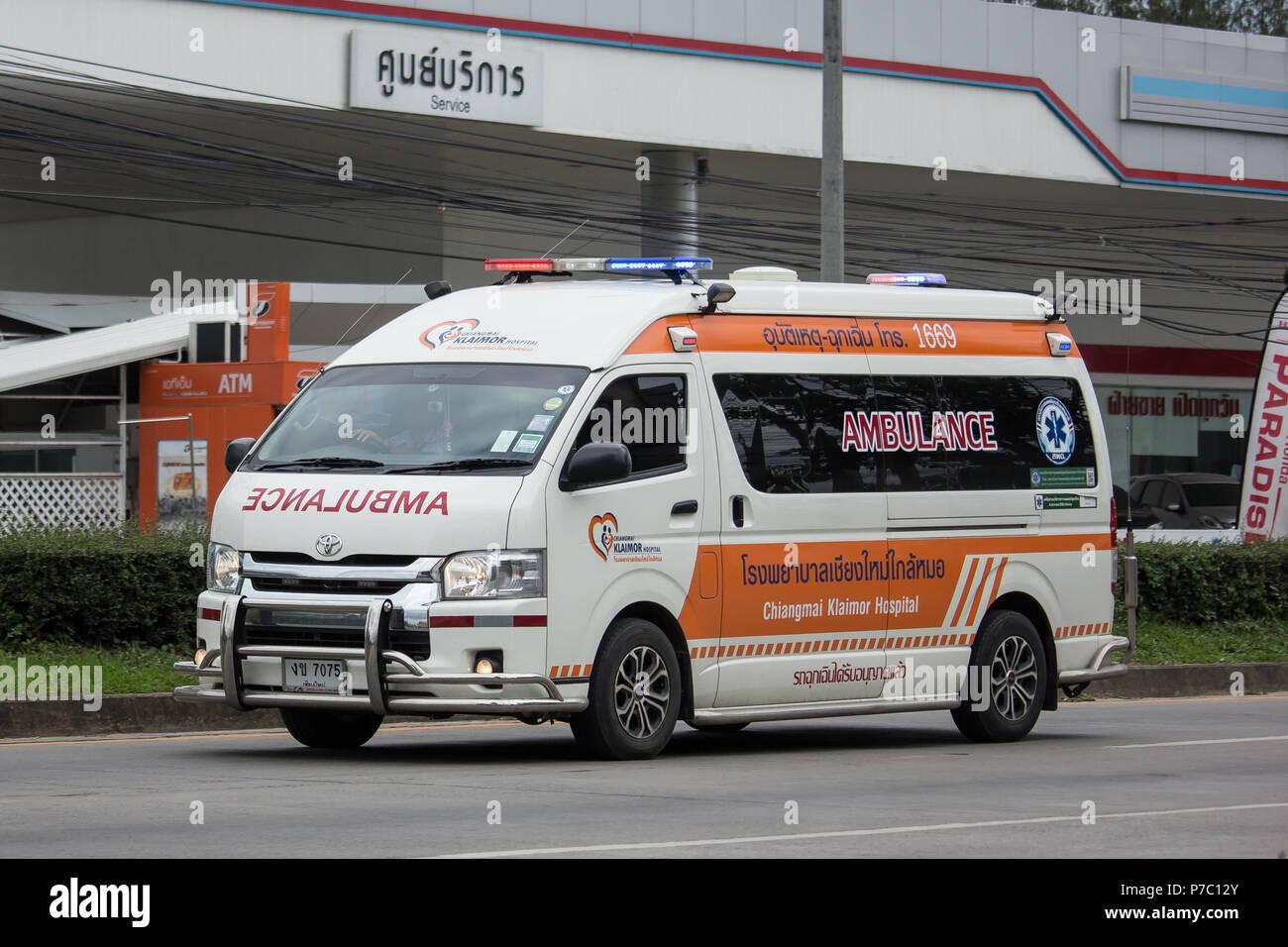 Chiangmai, Thailand - June 21 2018: Ambulance Van of Chiangmai