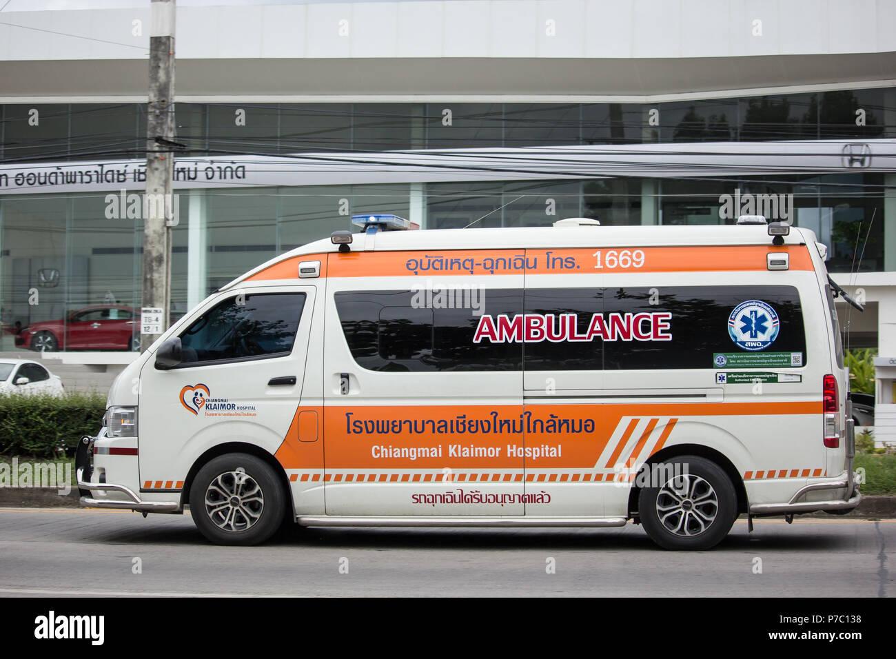 Chiangmai, Thailand - June 21 2018: Ambulance Van of