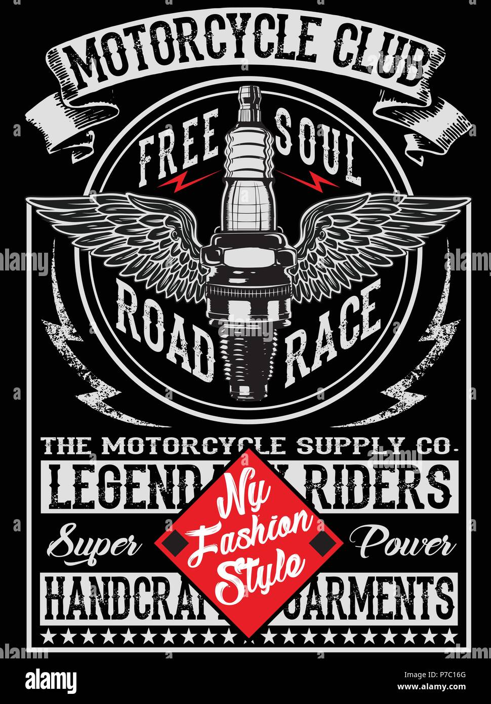Motorcycle Label T Shirt Design Stock Vector Art