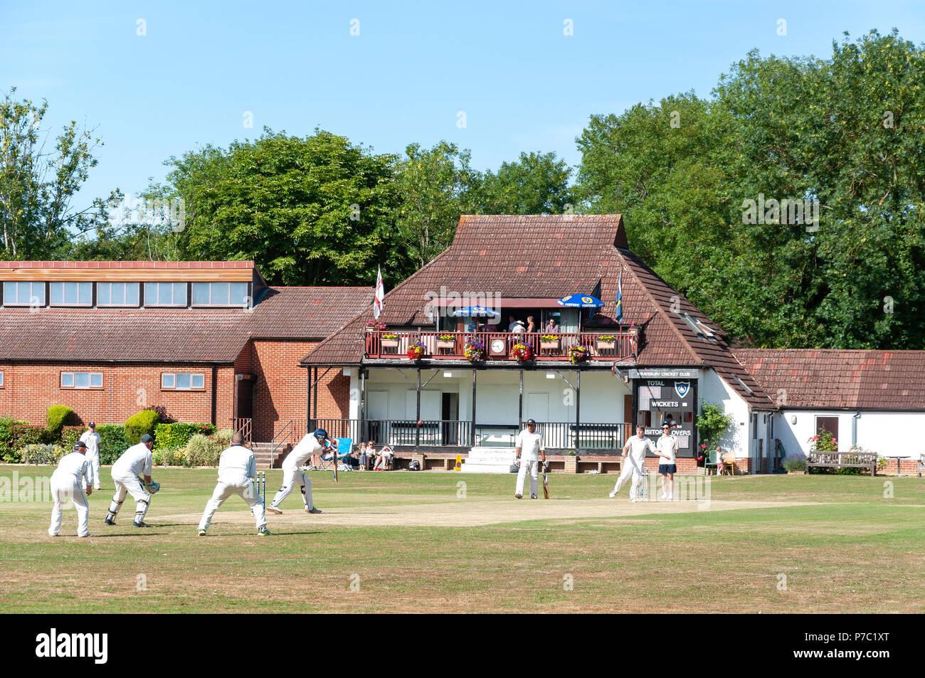 Cricket match at Waysbury Cricket Club, The Green, Wraysbury, Berkshire, England, United Kingdom - Stock Image