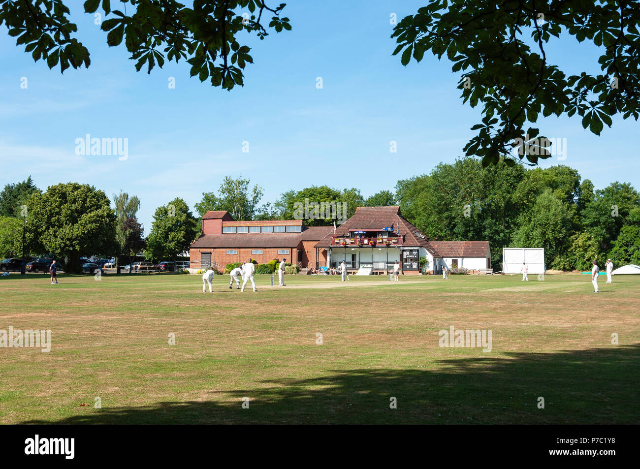Cricket match at Waysbury Cricket Club, The Green, Wraysbury, Berkshire, England, United Kingdom - Stock Image